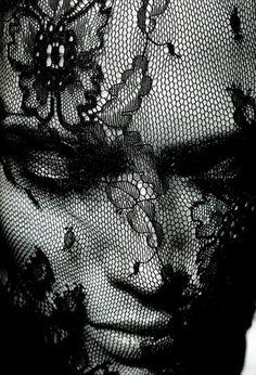 Black lace veil . . .