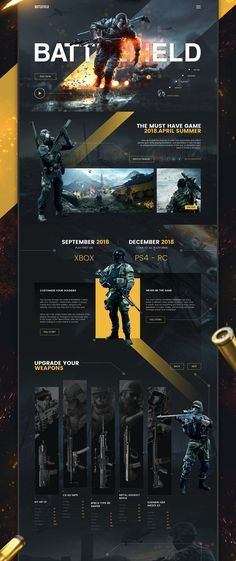 Landing page Battlefield UI/UX Design / Web Design on Behance What Does a Home Inspector Do? Website Design Layout, Web Design Tips, Web Design Tutorials, Ui Ux Design, Game Design, Flat Design, Minimalist Web Design, Interface Web, Design Responsive