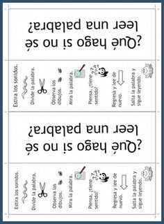 to Read in Spanish: Word Attack Strategies This printable bookmark has strategies for kids learning to read in Spanish.This printable bookmark has strategies for kids learning to read in Spanish. Learning Spanish For Kids, Spanish Lessons For Kids, Spanish Language Learning, Teaching Spanish, Kids Learning, Spanish Activities, French Lessons, Teaching French, Listening Activities
