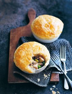 Chicken, mushroom and leek pot pies recipe from Something for Everyone by Louise Fulton Keats | Cooked