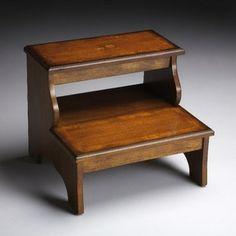 Elegant Cherry Wood Bed Step Stool
