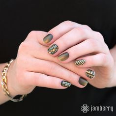 Bumble, Dipped in Gold, Satin Gold Chevron! So much black and gold! Jamberry Fall, Jamberry Nail Wraps, Jamberry Style, Jamberry Combos, Autumn Inspiration, Nails Inspiration, Fall Jams, Do It Yourself Nails, Nails 2015