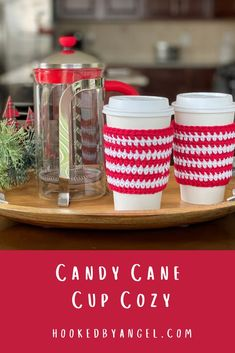 This listing makes gifting and selling this adorable candy cane cozy super easy. It includes the crochet pattern and, cup printable template. Pair the two together to achieve a colorful and professional look! Your cozy sits on the tabs on the side of the cutout and will stay in place for displaying at market or packaging to gift. Crochet Christmas Gifts, Christmas Crochet Patterns, Holiday Crochet, Christmas Coffee, Crochet Coffee Cozy, Crochet Cozy, Free Crochet, Quick Crochet Gifts, Crochet Crafts