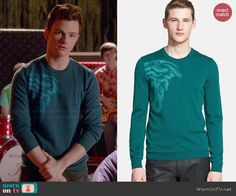 Kurt's teal graphic sweater on Glee.  Outfit Details: http://wornontv.net/44028/ #Glee