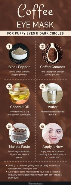 DIY Coffee Eye Mask for Puffy Eyes and Dark Circles Coffee grounds has antioxidant and anti-inflammatory properties that reduce your inflammation of your eyes and tighten the skin. Black pepper stimulates the blood circulation and proper oxygen supply to