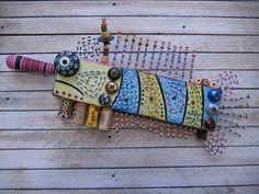 Fillet of Fish 4 Original Found Object Sculpture di FigJamStudio Found Object Art, Found Art, Louisiana Art, Crafts With Pictures, Painted Sticks, Assemblage Art, Weird Art, Fish Art, Art Club
