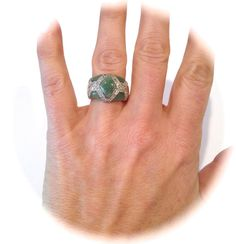 Vintage Sterling Silver Jade and Pave Estate Ring Green Stone