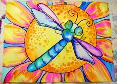 watercolor insect with warm and cool colors. Great step by step instructions at elementaryartfun.