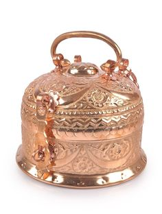 Copper Nakshi Paan Daan Medium Kitchen Serveware    Jaypore.com