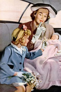 """Description: 1950 GENERAL MOTORS vintage print advertisement """"Key to quiet travel"""" -- The peace that lulls your baby to sleep in a General Motors car came from a . Vintage Fur, Vintage Prints, Retro Vintage, Vintage Roses, Vintage Pictures, Vintage Images, Illustrations Vintage, Estilo Pin Up, Vintage Housewife"""