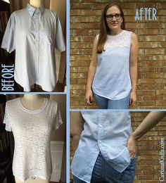Gingham and Lace Top Refashion by CarissaKnits