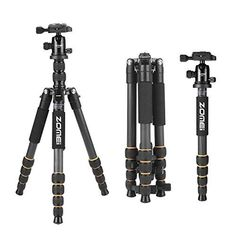ZOMEI Carbon Fiber Q666C Tripod Heavy Duty Lightweight Travel with 360 Degree Ball Head Compact for Canon Sony Nikon Samsung Panasonic Olympus Kodak Fuji Cameras and DSLR * Find out more at the image link. #NicePictures