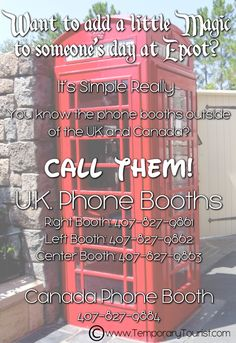 the numbers to call the phone booths at epcot. Good to know to prank or make people's day next disney trip Disney Diy, Disney Dream, Disney Love, Disney Magic, Disney Pixar, Disney Stuff, Disney 2017, Disney Princes, Disney Memes