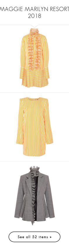 """MAGGIE MARILYN RESORT 2018"" by eenn ❤ liked on Polyvore featuring dresses, yellow, flutter-sleeve dress, frilly dresses, yellow ruffle dress, pink dress, yellow dress, outerwear, jackets and blazers"
