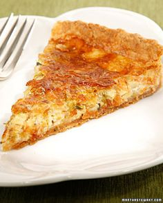Caramelized Leek Quiche - Martha Stewart Recipes...Just going to add some bacon and yummy breakfast for the week.