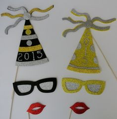 New Years Photo Booth Props 2015 Glasses and by weddingphotobooth, $24.99