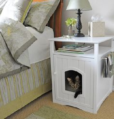 Cat bed cubby and bed side table together .how neat is this? Change this from a litter box to a bed.will that work or will those babies want to be relieving themselves? Crate Nightstand, Home Interior, Interior Design, Cat Decor, Cat Furniture, Pet Beds, Diy Stuffed Animals, Home Organization, My Dream Home
