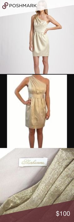 NWT Shoshanna Gold One Shoulder Dress New with tags. Beautiful Formal/ cocktail dress. Size 8 Shoshanna Dresses One Shoulder
