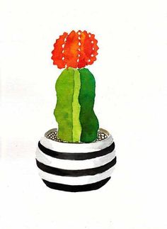 This is the original painting ( NOT A PRINT) of a cactus or succulent with a flower. The paper used is watercolor paper - 300g - Acid Free. The painting size is 11 7/32 x 8 17/64 (28,5 x 21 cm) The illustration will be signed by me in front and on the back. Painting comes in a clear plastic sleeve with cardboard in a sturdy mailer to protect it during shipping. Perfect for a kitchen or any room. Please note that colors may vary with different monitors Right to reproduce artwork do...