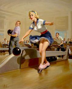 Vintage bowling art
