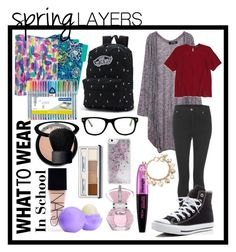 """""""Wear Cardigans at School """" by marietommo14 on Polyvore featuring Vera Bradley, Cheap Monday, Topshop, Converse, Vans, Muse, NARS Cosmetics, Eos, L'Oréal Paris and Forever 21"""