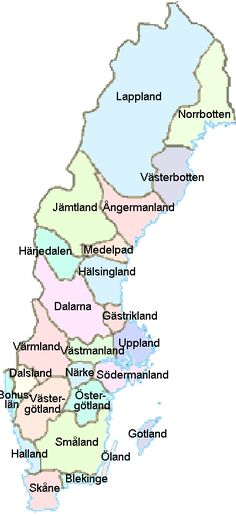 Side-by-side map of counties versus provinces of Sweden
