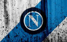 Download wallpapers FC Napoli, 4k, logo, Serie A, stone texture, Napoli, grunge, soccer, football club, Napoli FC