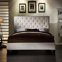 Sophie Tufted Beige Linen Queen-size Platform Bed