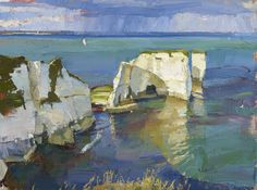 End of Day, Old Harry's Rocks: 24x32, oil on canvas, 2016