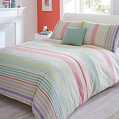 Debenhams - Multi Seersucker striped bed linen
