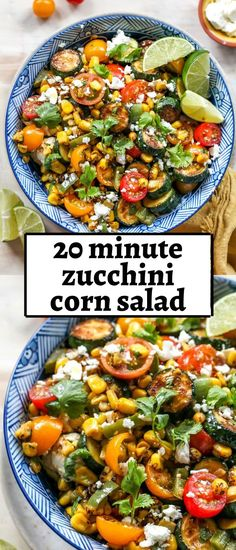 20 minute summer squash and corn fiesta salad with tomatoes, feta, and chili-lime vinaigrette. A simple and delicious side dish for all of your summer entertaining needs. #cornsalad #cornrecipes #zucchinisalad #zucchinirecipes #zucchini #tomatosalad Corn Salad Recipes, Corn Salads, Easy Salads, Healthy Salad Recipes, Summer Salads, Vegetarian Recipes, Cooking Recipes, Budget Recipes, Kitchen Recipes