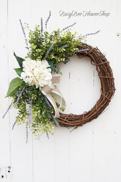 Hydrangea Colors, Hydrangea Wreath, Lavender Wreath, Diy Spring Wreath, Spring Front Door Wreaths, Country Wreaths, Rustic Wreaths, Greenery Wreath, Year Round Wreath
