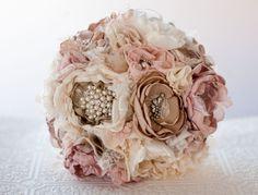 Fabric Flower Custom Wedding Bouquet Samantha  with by Cultivar, $100.00