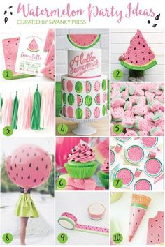 Watermelon Party Ideas The best way to welcome summer? Have a watermelon party! Whether for a backyard barbecue or your little sweetie's birthday, we've gathered together ideas to simplify the planning. Watermelon Birthday Parties, Fruit Party, Summer Birthday, Girl First Birthday, First Birthday Parties, First Birthdays, 1st Birthday Girl Party Ideas, Watermelon Baby, Party Summer