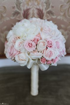 White and Pink Roses & Peonies Bridal Bouquet. Summer Wedding Toronto