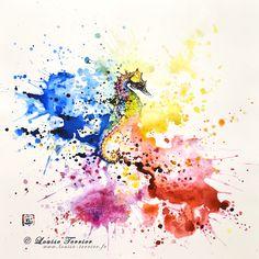 """Underwater rainbow"" 42x42cm / encre de chine"