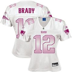 Reebok New England Patriots #12 Tom Brady Ladies White Vibrant Replica Football Jersey