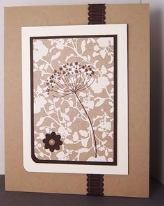 handstamped card ... stamping on patterned paper ... lacy flower from Summer Silhouettes ... kraft and neutrals ... like the effect! ... Stampin' Up!