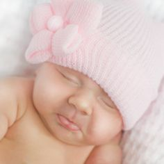 Newborn Hospital Hat - flower soft pink.  LOVE this!!