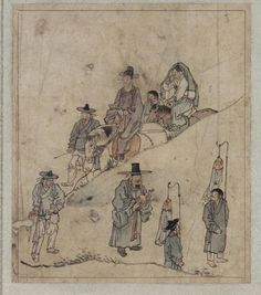 'On the Way for the Wedding(신행 新行)' painted by Kim Hong-do(金弘道, 1745~?) in the late 18th century. [*source : NMK]