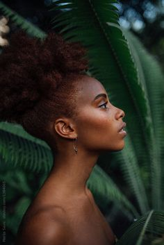 Beautiful Woman in Tropic Garden by Marija Savic for Stocksy United Makeup Ideas For Black Women BEAUTIFUL Garden Marija Savic Stocksy Tropic United Woman Shotting Photo, Foto Portrait, Black Girl Aesthetic, Brown Skin Girls, Foto Art, Portrait Inspiration, Beautiful Black Women, Black Girl Magic, Natural Hair Styles