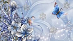 Flowers Snowflakes and Butterflies - Winter Wallpaper ID 1651026 - Desktop Nexus Nature