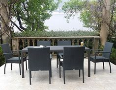 Graphite Outdoor Patio Furniture Resin Wicker Stacking Dining Arm Chair 7PC Set urbandesignfurnishings.com http://www.amazon.com/dp/B01BX2K8NM/ref=cm_sw_r_pi_dp_S7Bcxb1FDMMKW