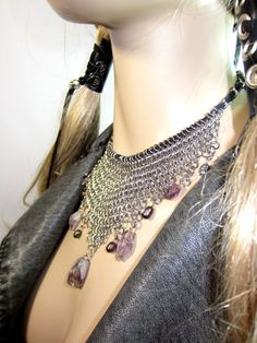 Amethyst ChainMaille Necklace Bohemian Jewelry Silver Chain Mail Mesh Bib Choker on Etsy, $88.00