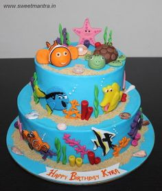 Sea Underwater Finding Nemo theme customized 2 layer designer fondant cake by Sweet Mantra - Customized 3D cakes Designer Wedding/Engagement cakes in Pune - http://cakesdecor.com/cakes/285474-sea-underwater-finding-nemo-theme-customized-2-layer-designer-fondant-cake