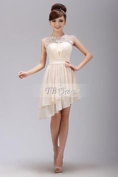A-Line Scoop Mini-Length Appliques Homecoming  Dress