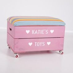 Personalised Kids Toy Box Storage Wooden Crate with padded lid