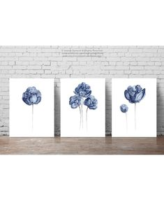 Peony Watercolour Painting Navy Paper Flower set of 3 Flowers | Etsy