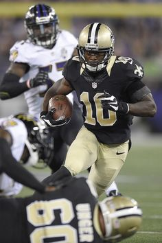 New Orleans Saints wide receiver Brandin Cooks (10) runs toward the goal line for a touchdown during the first half of an NFL preseason football game against the Baltimore Ravens, Thursday, Aug. 13, 2015, in Baltimore. (AP Photo/Nick Wass) ORG XMIT: BAF114