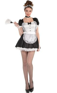 Adult Sassy Maid Costume features classic French maid dress with attached lace apron and ruffled underskirt. Sassy Maid Costume includes head band, glovelettes, and thigh high fish net stockings. Halloween Costume Shop, Halloween Costumes For Kids, Adult Costumes, Costumes For Women, French Maid Dress, French Maid Costume, Career Costumes, Maid Uniform, Maid Outfit